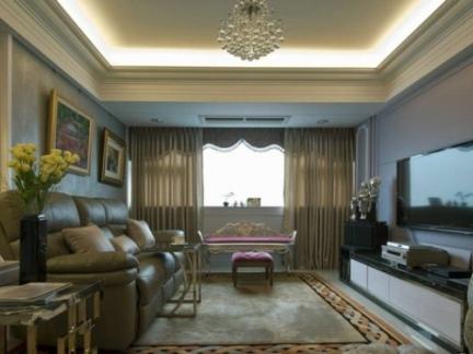 欧式家庭装修设计客厅电视背景墙图片