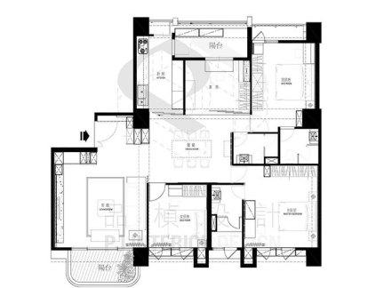 125平米现代三室一厅平面图