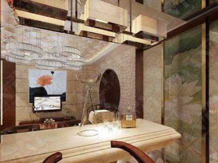 新中式休闲区吧台装修图片