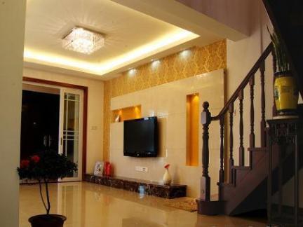 别墅客厅电视背景墙装修 - 星艺装饰