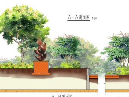 广场景观手绘剖面图