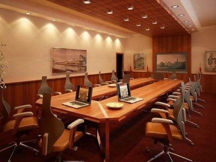 实木风格会议室吊顶效果图