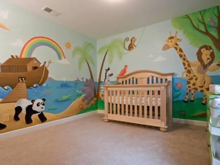 可爱手绘墙画婴儿房装修