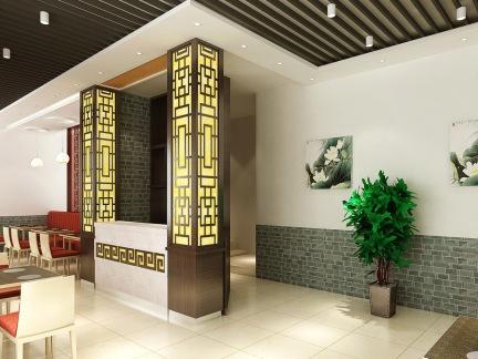 中式快餐店收银台装修效果图图片