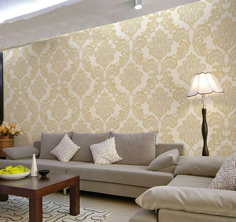 美式客厅墙布效果图片图片