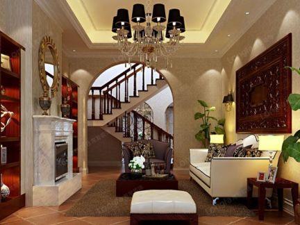 龙发装饰-240�O古典欧式联排别墅客厅