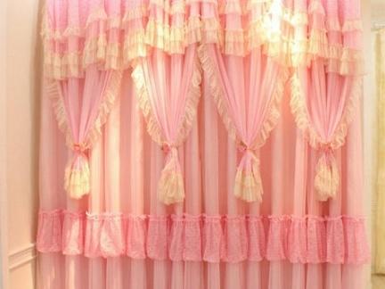 田园风格窗帘效果图 粉色家装窗帘效果图