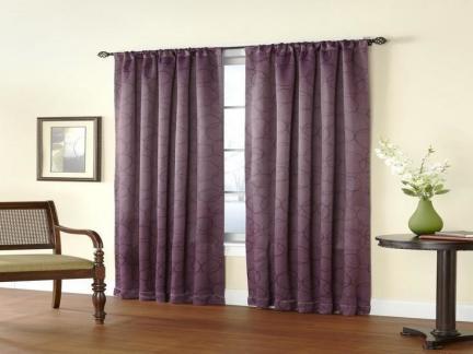 客厅紫色窗帘效果图
