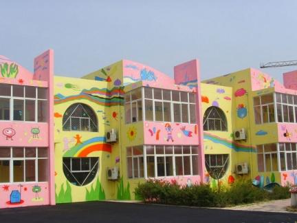 幼儿园教学楼手绘墙图片