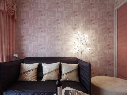 田园简约风格客厅墙纸效果图