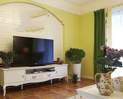 田园风格室内精装修客厅电视背景墙图片