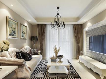 欧式轻奢华80平米家居设计装修效果图图片