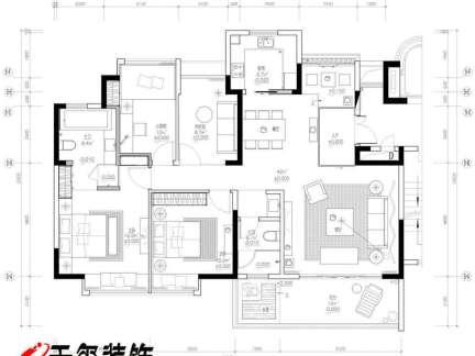 四室二厅平面图