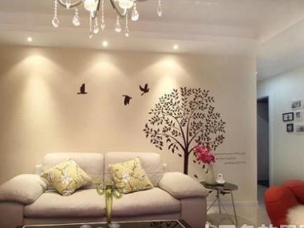 简约客厅手绘沙发背景墙效果图