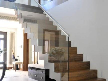 2016复式楼玻璃楼梯扶手装修效果图-房天下装修效果图片