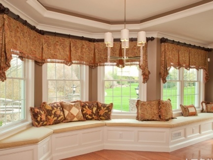 客厅飘窗设计装修效果图 飘窗窗帘图片