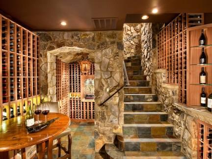 美式别墅地下室酒窖效果图图片