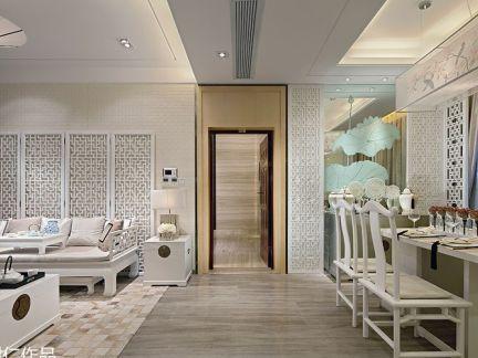 简中式客厅过道地板砖连餐厅玻璃背景墙图片