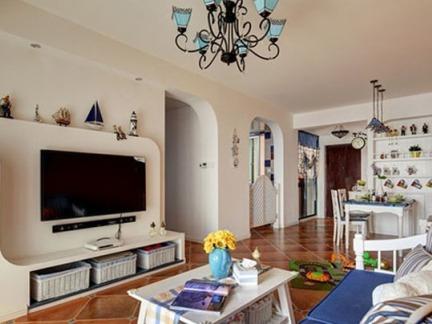 地中海风格客厅电视背景墙装修
