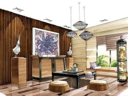 手绘茶室设计效果图-2017前台手绘设计图大全 房天下装修效果图