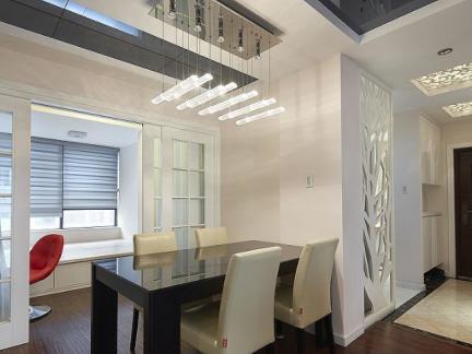 现代室内客厅走廊餐厅一体装修效果图