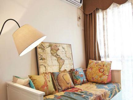 美式风格休闲室沙发床摆放效果图