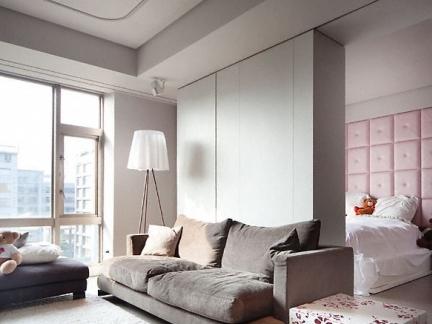 北欧时尚客厅卧室一体装修图
