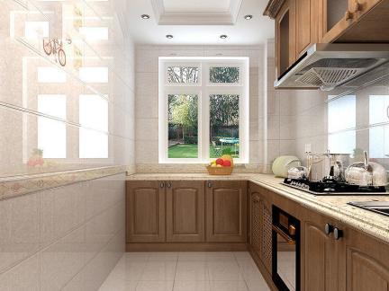 现代简约厨房墙砖效果图-2017厨房绿色墙砖效果图 房天下装修效果图