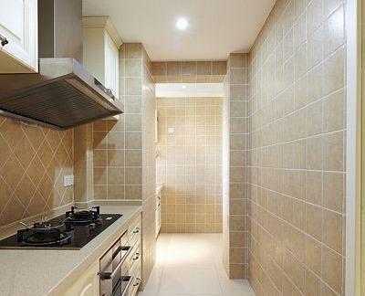 欧式狭长厨房瓷砖搭配效果图图片