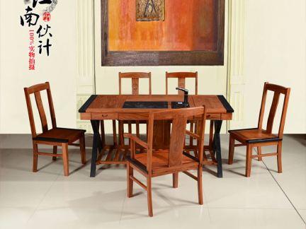 简中式花梨木茶桌设计