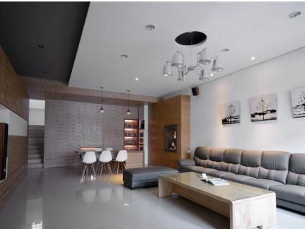 现代清新风格三室一厅家装效果图