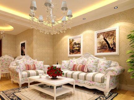 龙发装饰案例_精装夏威夷南岸88�O简欧两居沙发背景墙