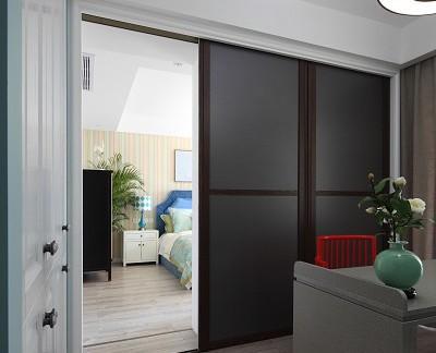 中式风格装修室内卧室推拉门效果图