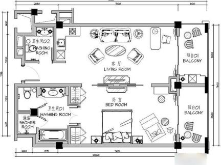 豪华酒店套房平面图-2018套房平面图 房天下装修效果图