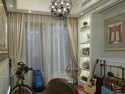 家居休闲区双层纯色窗帘效果图