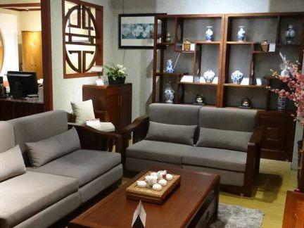 中式布艺木沙发图片图片
