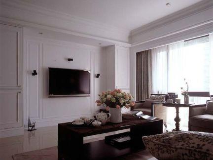 简美式小客厅电视背景墙效果图图片