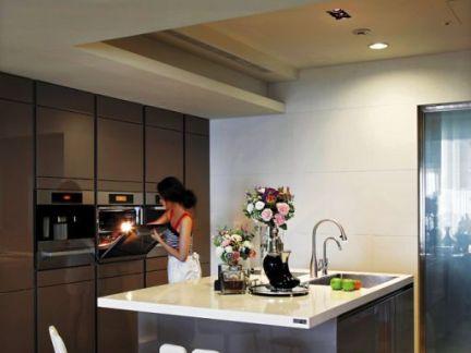 现代家庭开放式厨房岛台效果图