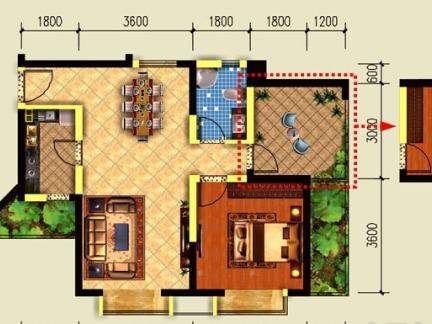 58平米两室一厅装修图