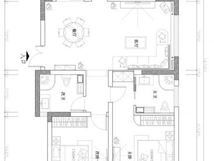农村三层别墅首层室内户型图