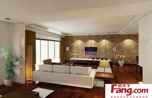 三室一厅现代l阳台飘窗客厅电视背景墙地板拼接装修