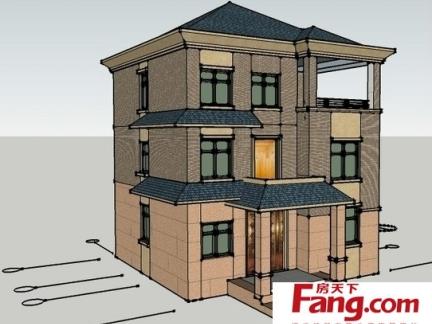 马路边上的农村三层房屋设计图