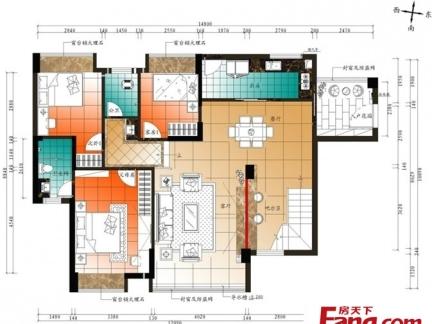 2013年最新农村两层别墅彩色户型图