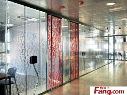 办公室艺术玻璃隔断效果图