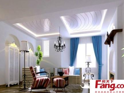 最新豪宅地中海式卧室飘窗灯饰装修图