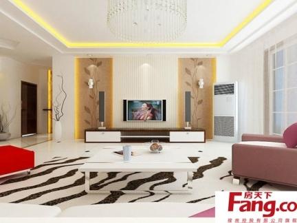 80平现代客厅电视背景墙隐形门飘窗装修设计图