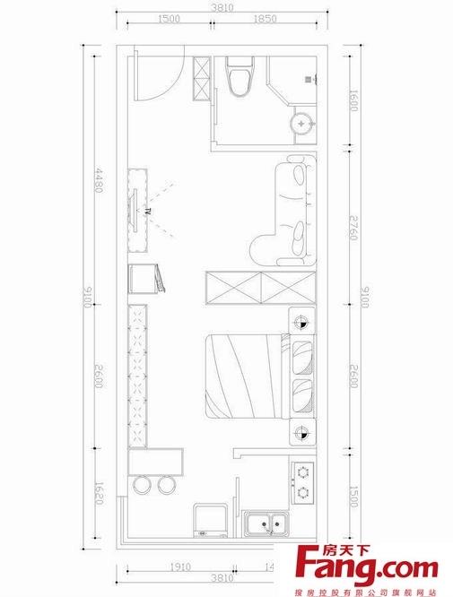 最流行的单身公寓平面图大全一览-搜房网装修效果图