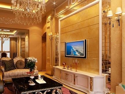 客厅中式瓷砖电视墙装修图片图片