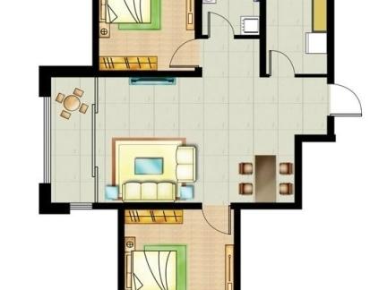 8二室一厅户型平面图 房天下装修效果图