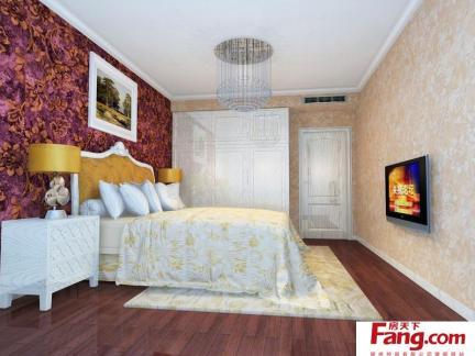 主卧室床之背景墙墙纸装修